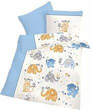 Biber Baby-Bettwäsche Elefanten Weiß Hell-Blau