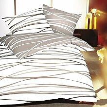 Biber Bettwäsche, Wellen Beige Creme, Baumwolle, Streifen, Bettgarnitur, Bettwäschegarnitur, Bettwäscheset, Winterbettwäsche