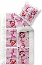 Biber Winter Bettwäsche 135x200 warm, Baumwolle flauschig weicher Biber Bettbezug 80x80 Kissenbezug, CelinaTex Touchme Bettgarnitur Loana weiß pink Love 5001292