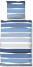 biberna 636120/290/001 Maco-Baumwoll-Satin Bettwäsche, nach Öko-Tex Standard 100, ca. 135 x 200 cm + 80 x 80 cm, Farbe: korn blau