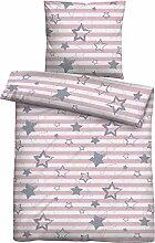 biberna Kinder-Bettwäsche Biber rosa Größe