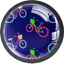 Bicicleta Fahrradmuster, 4Pack ABS Kommode Knöpfe