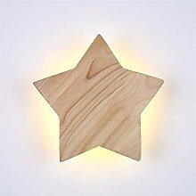 bideng Hölzerne LED Wandlampe Fünfzackiger Stern