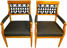 Biedermeier Armlehnstühle aus Kirschholz, 1830er,