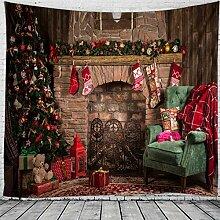 biejuyige Tapisserie Wandbehang Weihnachten Kamin
