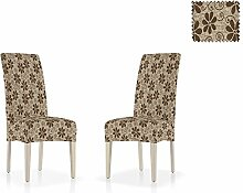 Bielastische Stuhl-Husse Aljub mit Rückenlehne, zweier Pack, Größe Standard, Farbe Braun (Mehrere Farben verfügbar)