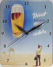 Bier Durst Auf Beer Blech Blech Wanduhr Stabil NEU 26x20cm U516