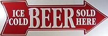 Bier Eiskalt Pfeil Blechschild Flach Neu 22x67cm