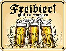 Bier - Freibier - Blechschild mit Spruch, 4