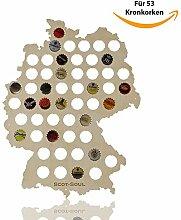 Bier Geschenke | Bier Karte Deutschland | Bier Geschenk für Männer | 53 Kronkorken, Holz, 43 x 35 cm | Lustige Bier Geschenk Idee zum Bier Sammeln und Probieren