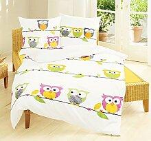 Bierbaum Kinder Bettwäsche Eule Owl Pink Biber