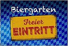 Biergarten Freier Eintritt, blau weiß, oktoberfest, blechschild, bar accessoires