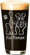 "Bierglas ""I Love My Fox Terrier"", 473 ml,"