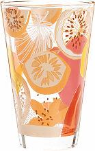 Bierglas mit aufgedruckten Früchten in Rosa, Gelb