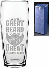 Bierglas mit Gravur, bedruckt, mit großem Bart,