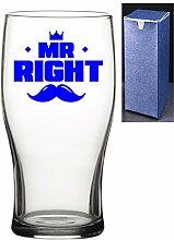 Bierglas mit Gravur, bedruckt, Motiv: Mr Right,