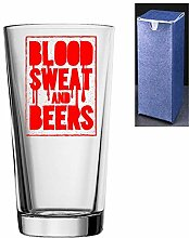 Bierglas mit Gravur, konisch, Blood Sweat and