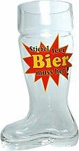Bierglas mit Spruch Stiefel leer - Bier-Stiefel