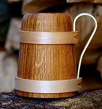 Bierkrug aus Eichenholz Humpen Römer Krug