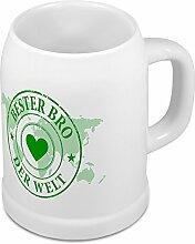Bierkrug Bester Bro der Welt - Motiv Weltkarte -