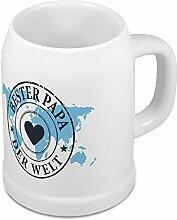 Bierkrug Bester Papa der Welt - Motiv Weltkarte - Namenstasse, Becher, Maßkrug, Humpen