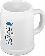 Bierkrug Bro - Motiv Keep Calm and Love Bro - Namenstasse, Becher, Maßkrug, Humpen