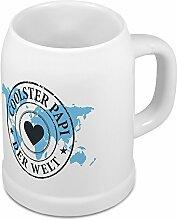 Bierkrug Coolster Papi der Welt - Motiv Weltkarte - Namenstasse, Becher, Maßkrug, Humpen