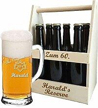 Bierkrug + Holz-Bierträger + inklusive