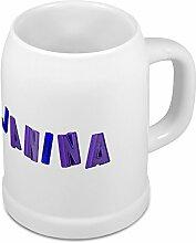 Bierkrug mit Name Janina - Design Magnetbuchstaben - Namens-Tasse, Becher, Maßkrug