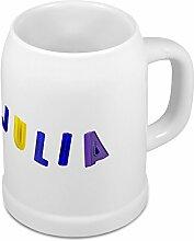 Bierkrug mit Name Julia - Design Magnetbuchstaben - Namens-Tasse, Becher, Maßkrug