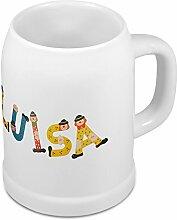 Bierkrug mit Name Luisa - Design Holzbuchstaben - Namens-Tasse, Becher, Maßkrug