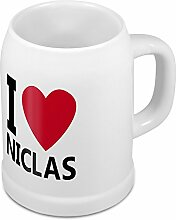 Bierkrug mit Name Niclas - Design I Love Niclas - Namens-Tasse, Becher, Maßkrug