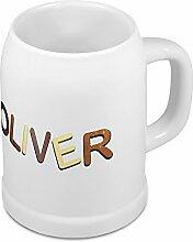 Bierkrug mit Name Oliver - Design Schokoladenbuchstaben - Namens-Tasse, Becher, Maßkrug