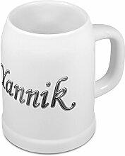 Bierkrug mit Name Yannik - Design Chrom-Schriftzug - Namens-Tasse, Becher, Maßkrug