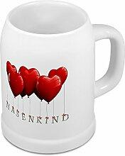 Bierkrug mit Namen Hasenkind - Motiv Herzballons - Namenstasse, Becher, Maßkrug, Humpen