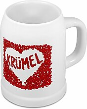 Bierkrug mit Namen Krümel - Motiv Rosenherz - Namenstasse, Becher, Maßkrug, Humpen