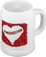 Bierkrug mit Namen Schmusekätzchen - Motiv Rosenherz - Namenstasse, Becher, Maßkrug, Humpen