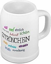 Bierkrug mit Namen Zitrönchen - Motiv Positive Eigenschaften - Namenstasse, Becher, Maßkrug, Humpen
