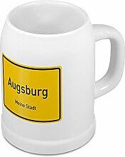Bierkrug mit Stadtnamen Augsburg - Design Ortschild - Städte-Tasse, Becher, Maßkrug