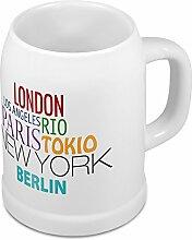 Bierkrug mit Stadtnamen Berlin - Design Famous Citys in the World - Städte-Tasse, Becher, Maßkrug