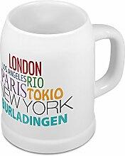 Bierkrug mit Stadtnamen Burladingen - Design Famous Citys in the World - Städte-Tasse, Becher, Maßkrug