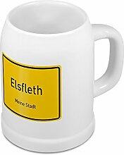 Bierkrug mit Stadtnamen Elsfleth - Design Ortschild - Städte-Tasse, Becher, Maßkrug