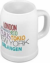 Bierkrug mit Stadtnamen Erlangen - Design Famous Citys in the World - Städte-Tasse, Becher, Maßkrug