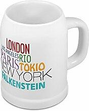 Bierkrug mit Stadtnamen Falkenstein - Design Famous Citys in the World - Städte-Tasse, Becher, Maßkrug