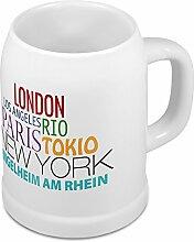 Bierkrug mit Stadtnamen Ingelheim am Rhein - Design Famous Citys in the World - Städte-Tasse, Becher, Maßkrug