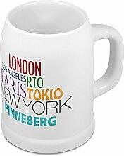 Bierkrug mit Stadtnamen Pinneberg - Design Famous Citys in the World - Städte-Tasse, Becher, Maßkrug
