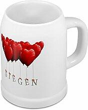 Bierkrug mit Stadtnamen Siegen - Design Herzballons - Städte-Tasse, Becher, Maßkrug