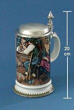 Bierseidel Bier-Krug Galeriekrug mit Zinndeckel