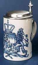 Bierseidel Bier-Krug Porzellankrug mit Zinndeckel