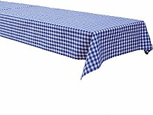 Biertisch Tischdecke 110x270 cm, Karo 1x1 cm, Blau, Baumwolle, kariert, durchgewebt, Landhausstil, Tischwäsche, Tischtuch, Biertischtischdecke, Karomuster